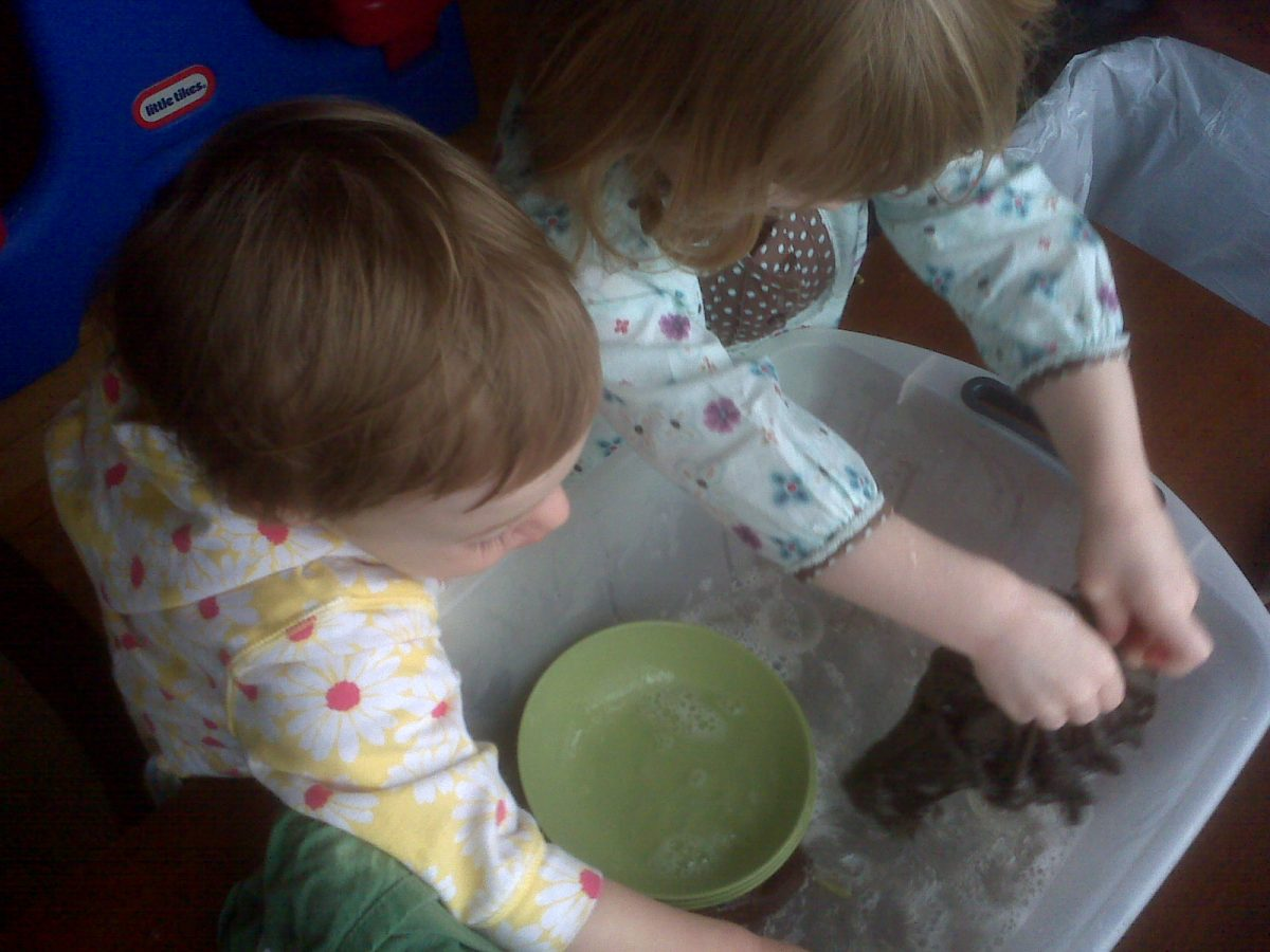 washing dishes after snack montessori style