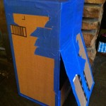 """DIY Cardboard Mailbox Play: A flap on the back allows retrieval of """"mail"""""""