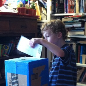 DIY Cardboard Mailbox Play: Mailing a letter