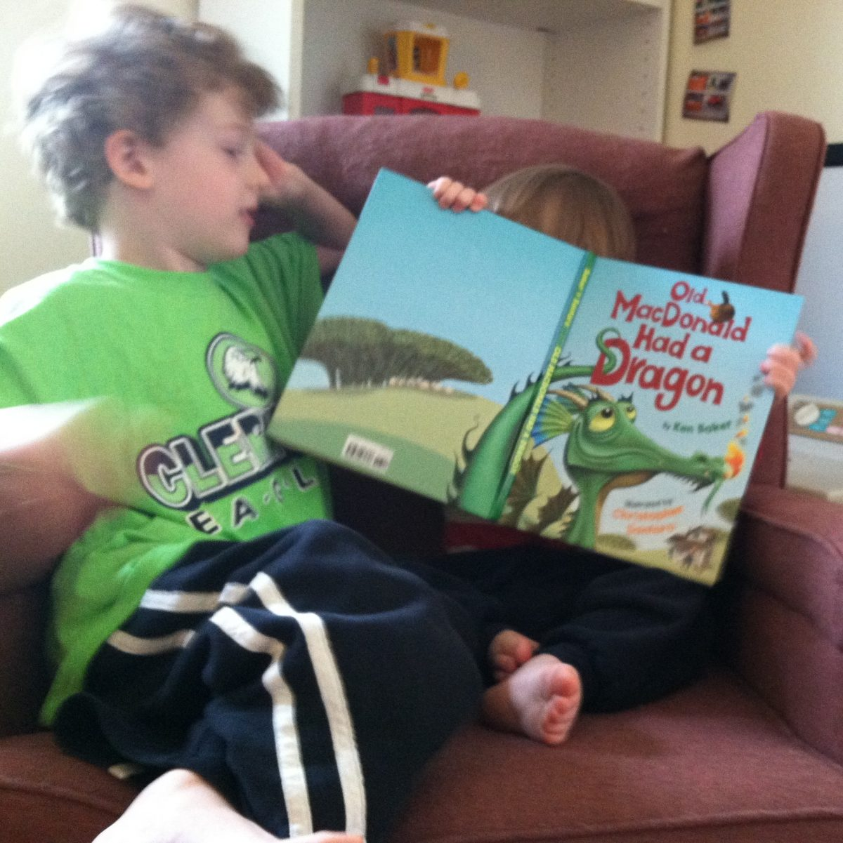 Brothers reading Old MacDonald Had a Dragon