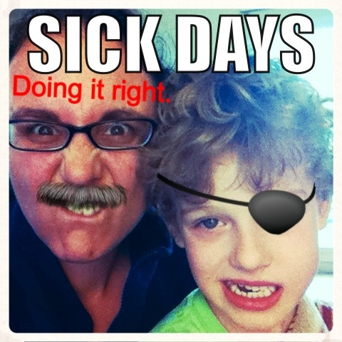 Sick Days with eye patch and mustache