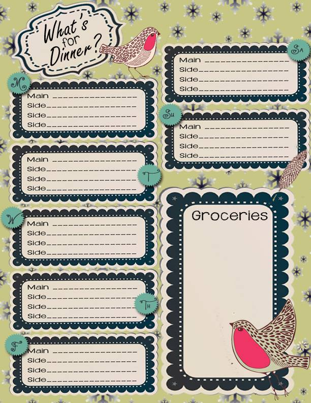 What's For Dinner Printable Menu Planner