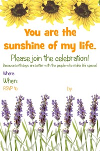 free printable sunflower party invitation