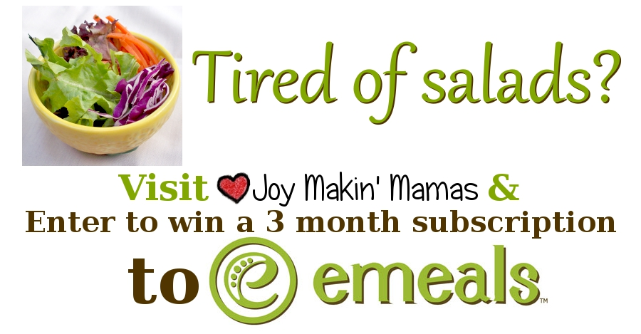 Tired of salads? Enter to win 3 months of emeals from Joy Makin Mamas!