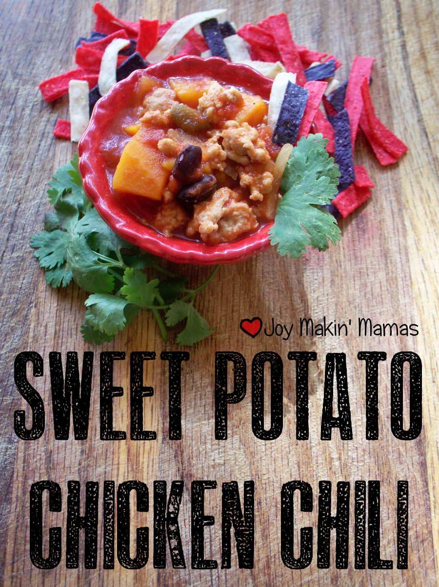 sweet potato chicken chili recipe featuring Dei Fratelli tomatoes Joy Makin Mamas