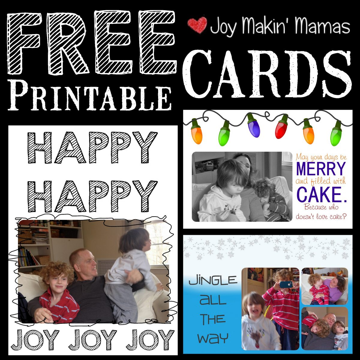 free printable holiday card templates Joy Makin' Mamas 2014