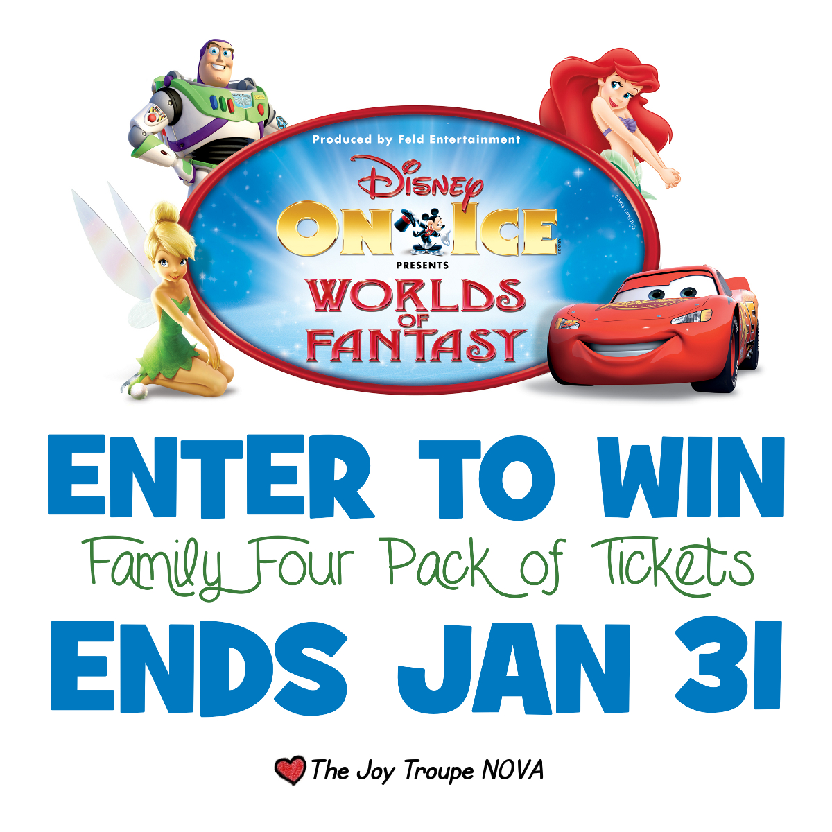 Enter to win four tickets to Disney on Ice Worlds of Fantasy ends 1/31