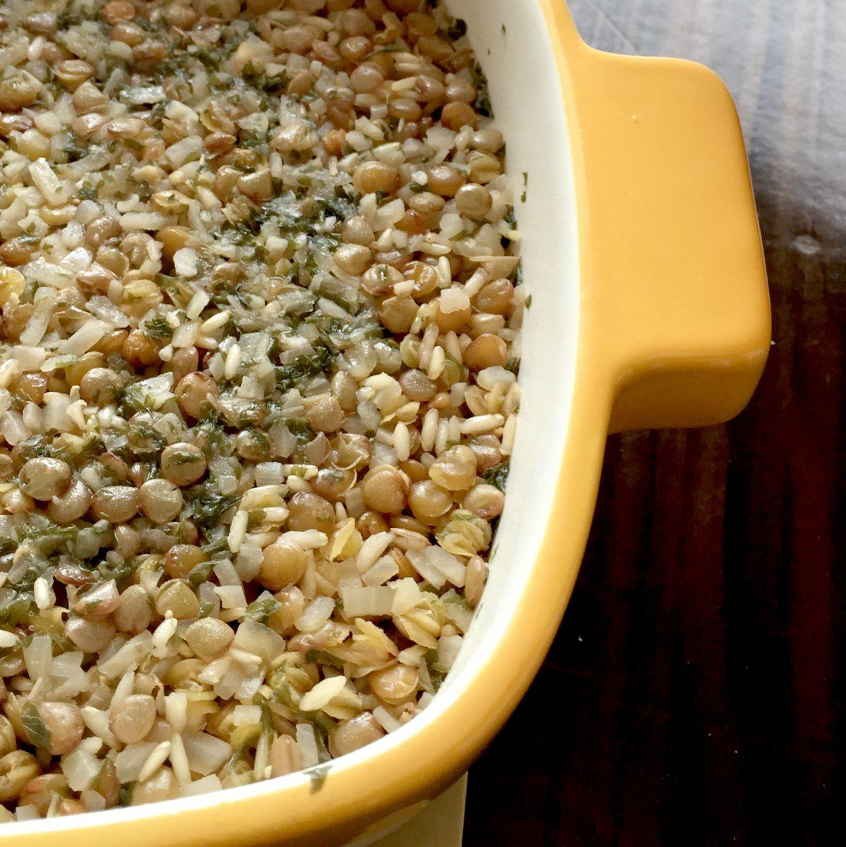 Easy rice and lentil pilaf microwave process shot Joy Makin' Mamas