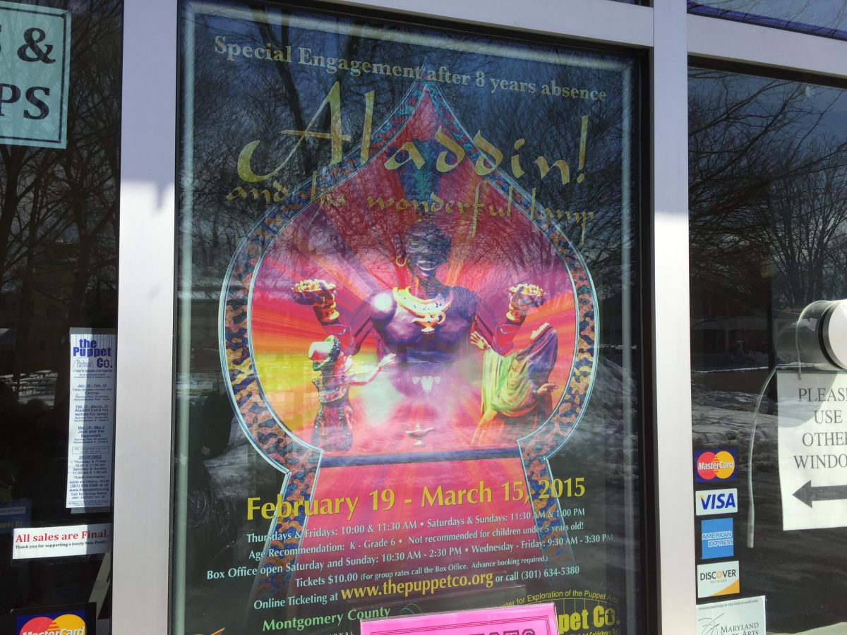 Show poster Aladdin The Puppet Co in Glen Echo MD