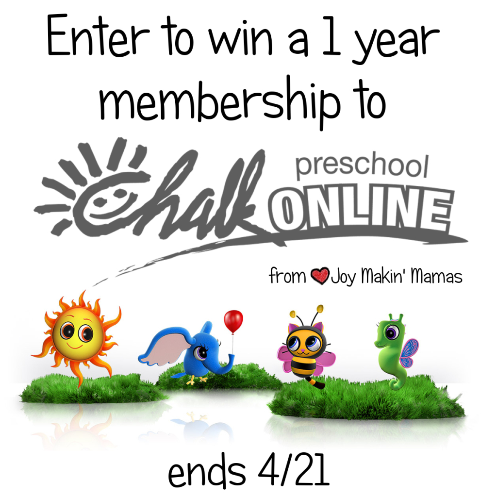 CHALK preschool giveaway ends 4/21 by Joy Makin' Mamas