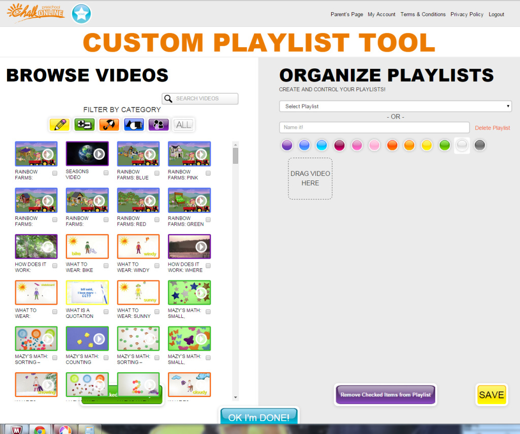 CHALK Preschool Online Custom Playlist Tool