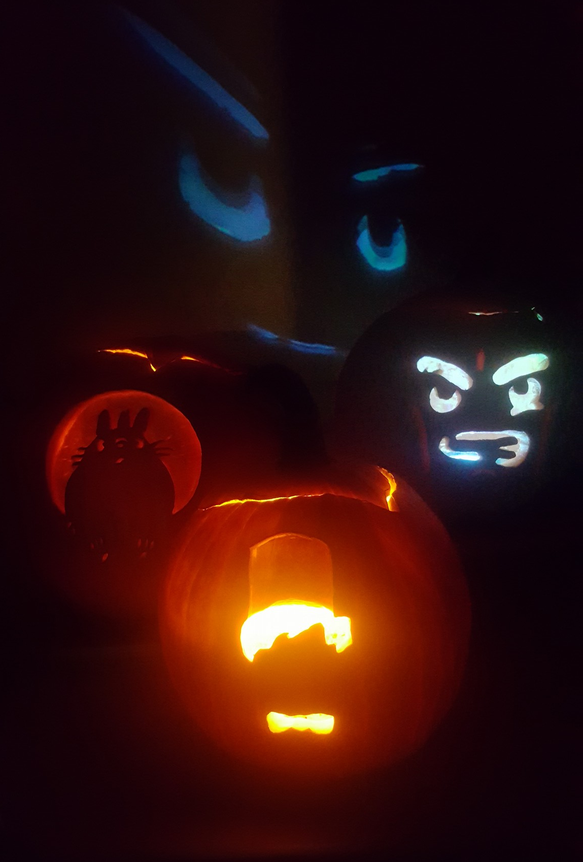 Lego, Totoro, and Doctor Who Pumpkins created with the Pumpkin Gutter carving tool 2017