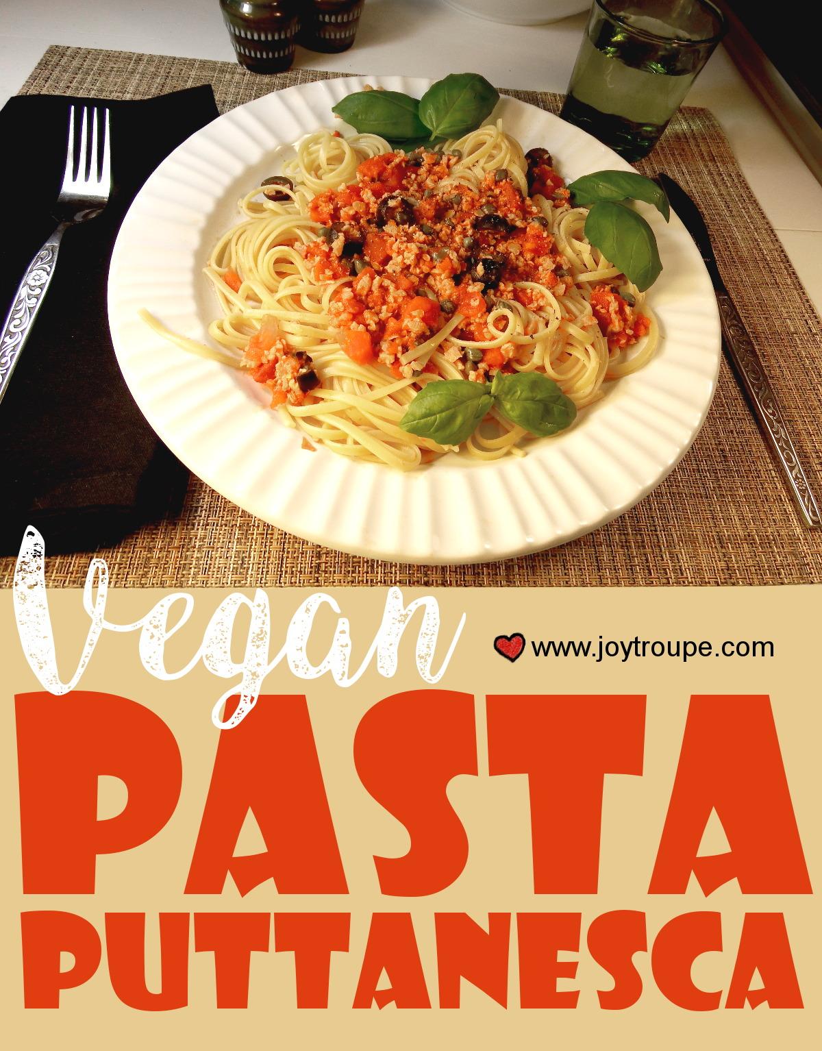 vegan pasta puttanesca pin me Joy Makin Mamas